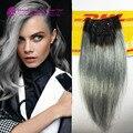 2015 moda negro a gray sirena colorful ombre brasileño clip en extensiones de cabello dos ombre gris plata clip en el pelo 7 unids conjunto