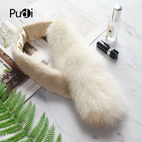 Pudi women real fox mink fur winter warm scarf ring 2018 brand new genuine fox fur mink fur pathwork scarves rings SF845