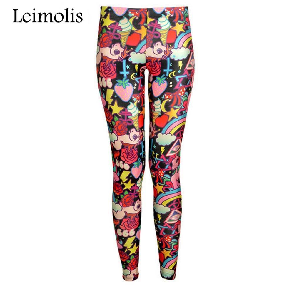 Leimolis 3D Printed Fitness Push Up Workout Leggings Women Gothic Rainbow Candy Unicorn Plus Size High Waist Punk Rock Pants