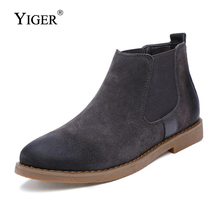 YIGER New Man Ankle Boots Chelsea Genuine Leather Sewing shoes Casual  Black/Brown/Gary 0097