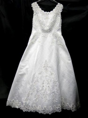 Davids Bridal 95868 White Sleeveless Beaded Wedding Dress Size 14W 60 UNL Listed For Charity