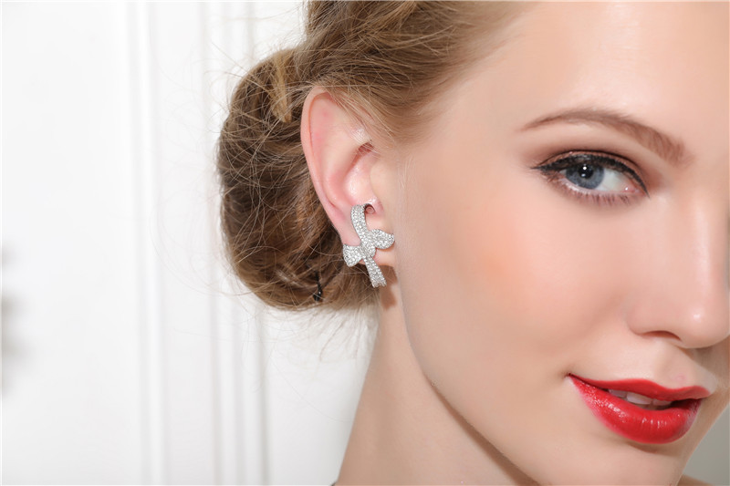 ZOZIRI style été 925 boucles d'oreilles bowknot en argent sterling pour les femmes à la mode zircon cubique couleur or noir boucle d'oreille bijoux