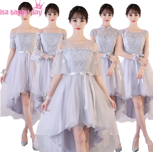 94ee3eafa733 robe de soiree short bridesmaids high low silver gray bridesmaid dress for  party of marriage formal dresses size 6 H4187