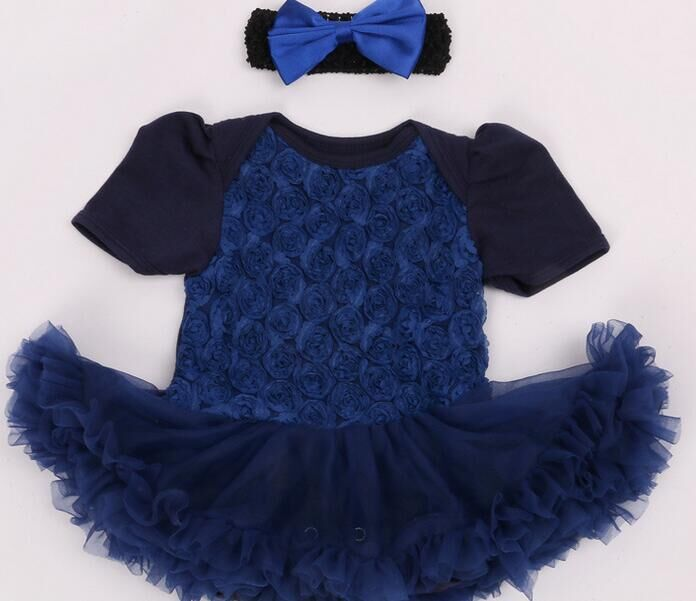 Baby Costumes Lace Romper Dress rose short sleeve 1st Birthday Outfit Jumpsuit + Headband Newborn Girl Clothes Infant Clothing newborn infant baby girl clothes strap lace floral romper jumpsuit outfit summer cotton backless one pieces outfit baby onesie