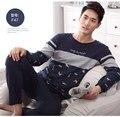 2016 otoño pijama de los hombres de punto de fibra de bambú casa plus hombres pijama conjunto