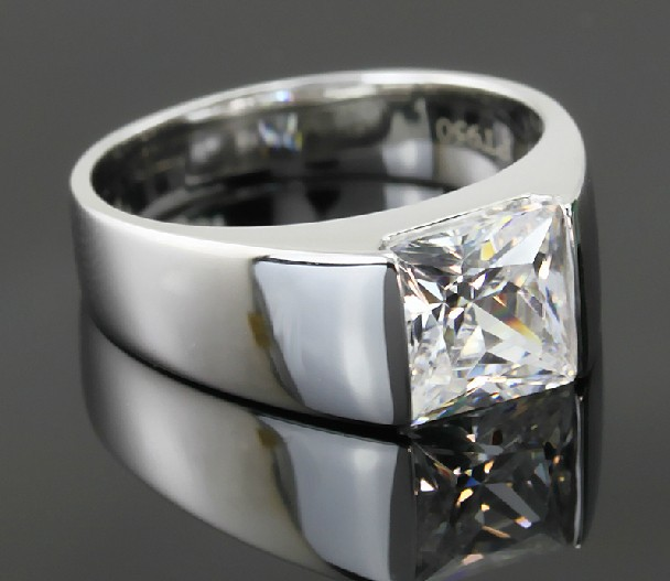 Genuine Quality Solid 14K White Gold Men Solitaire Ring 2Ct