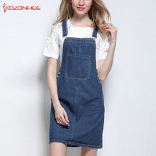 3b6147e1729 kozonhee Loose A-Line Sling Dresses For Women Sex Casual Knee-Length Denim  Dresses