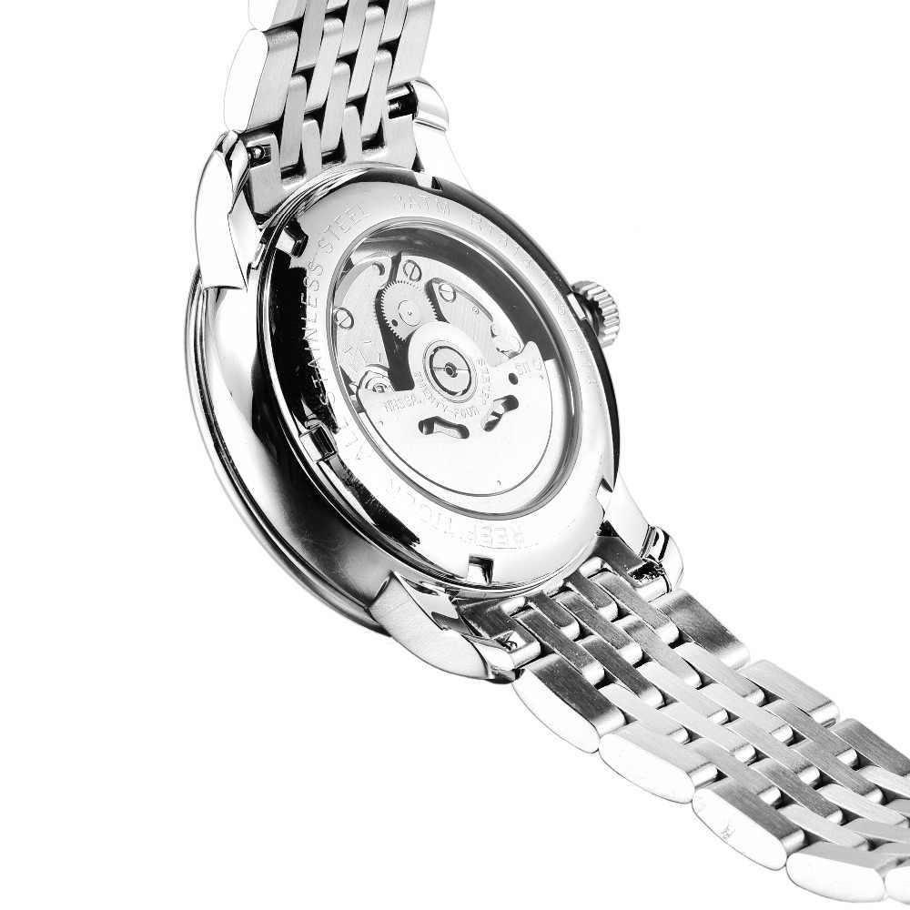 Reef tiger/rt vestido relógios com data dia completo relógio de aço inoxidável relógios automáticos rga8236
