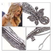Fashion Women's Crystal Butterfly Hairpin Vintage Rhinestone Flower Hair Pin Barrette Hair Clip Hair Styling Accessories