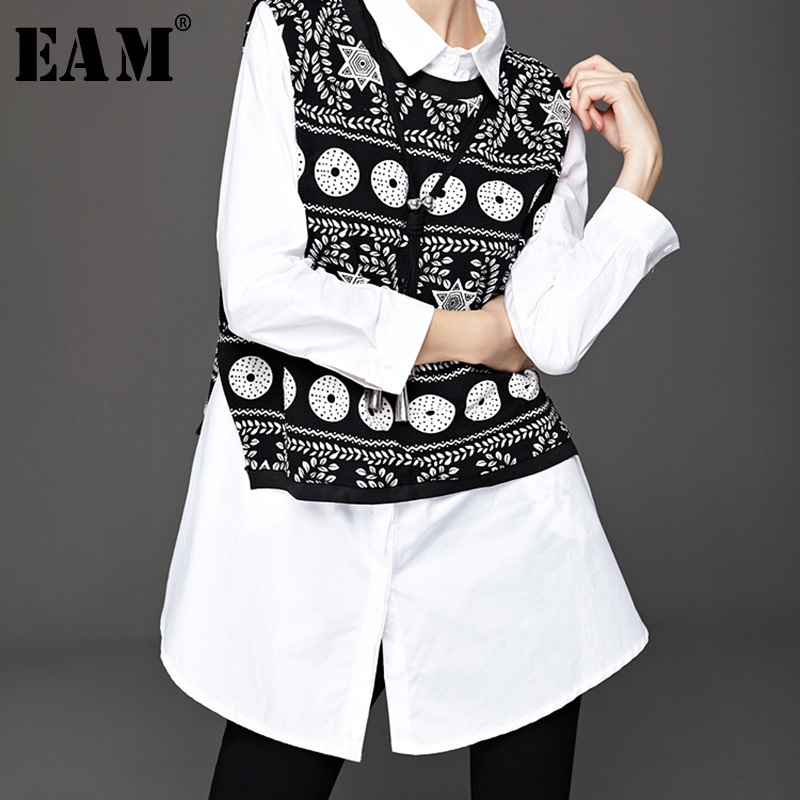 [EAM] 2019 Autumn Winter Woman Characteristic Printing Vest Back Split Turn-down Collar Long Sleeve White 2 Piece Shirt LD561