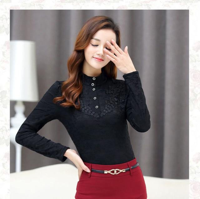 Autumn Elegant Lace Blouse Women Stand Ladies Tops Long Sleeve Button Shirt Fashion Korean Clothes Femme DD2252 4