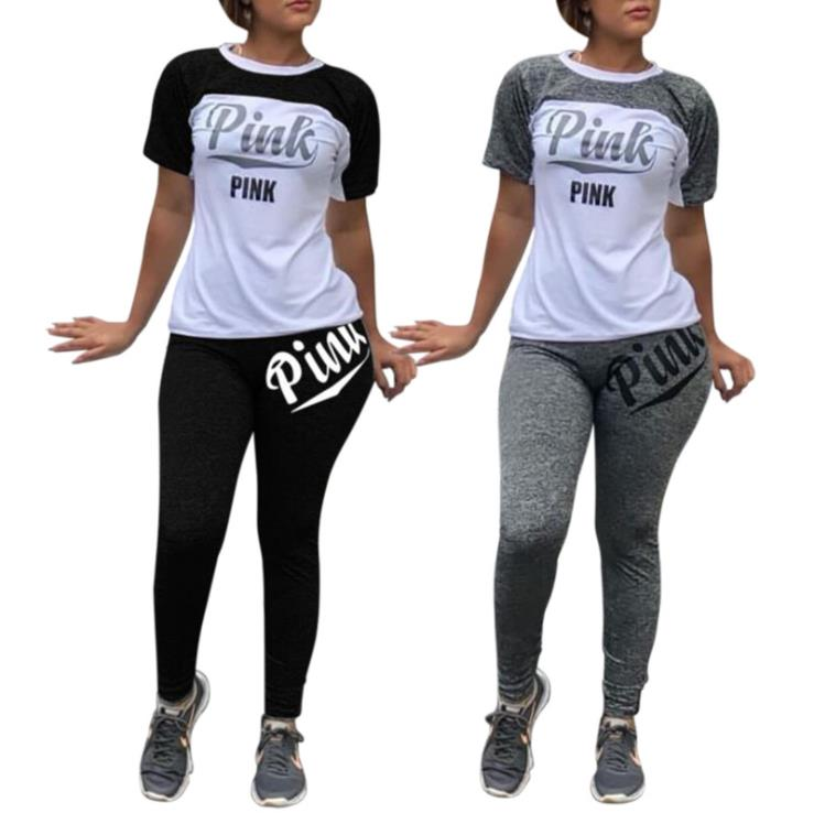 Pink Letter Casual 2 Piece Outfit Summer Tracksuit O Neck Short Sleeve Tops And Solid Fit Slim Long Pants Lady Streetwear