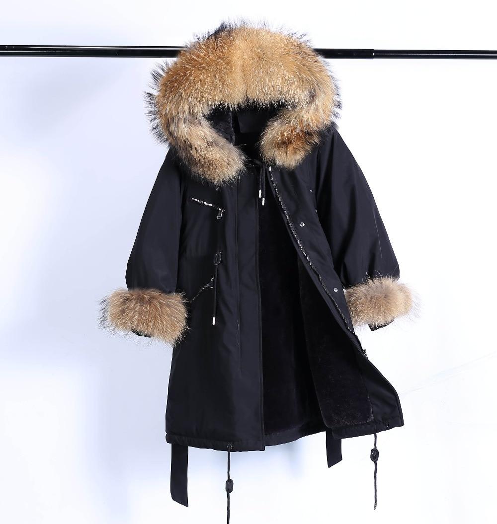 Large Natural Raccoon Fur Winter Jacket Women Hooded 19 Long Parkas For Female Thick Slim Down Winter Coat Women Waterproof 36