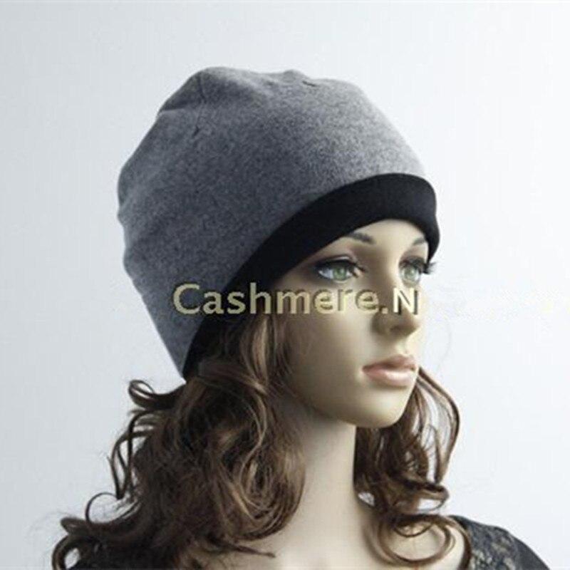 Double face couleur 2ply 100% chèvre cachemire mode chapeaux casquettes épaissir bonnets pour l'hiver EU/M (56- 58 cm)