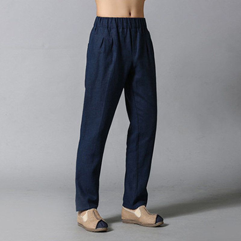 Spring Autumn Free Size Men Casual Linen Pencil Pants Fashion Joggers Men's Clothing Top Quality Trousers 4Colors