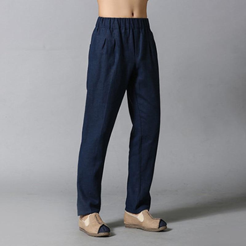 Spring Autumn Free Size Men Casual Linen Pencil Pants Fashion Joggers Men's Clothing Top Quality Trousers 4Colors