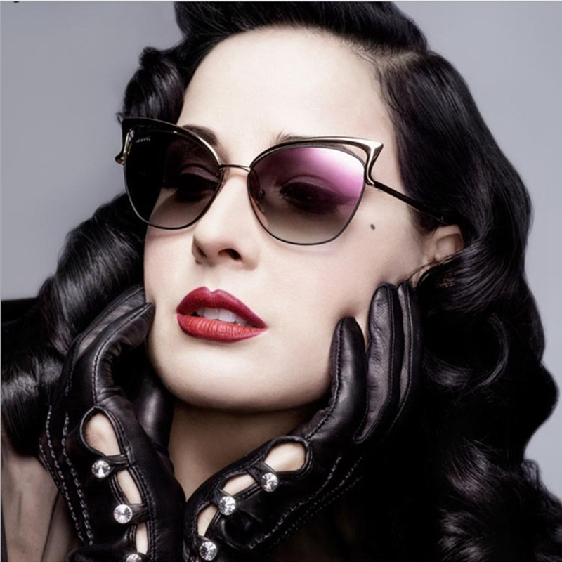 Vogue Brand Design Cat Eye Sunglasses Women Hollow Alloy Frame Female Shades Luxury Metal Sun Glasses Popular Driving Goggles