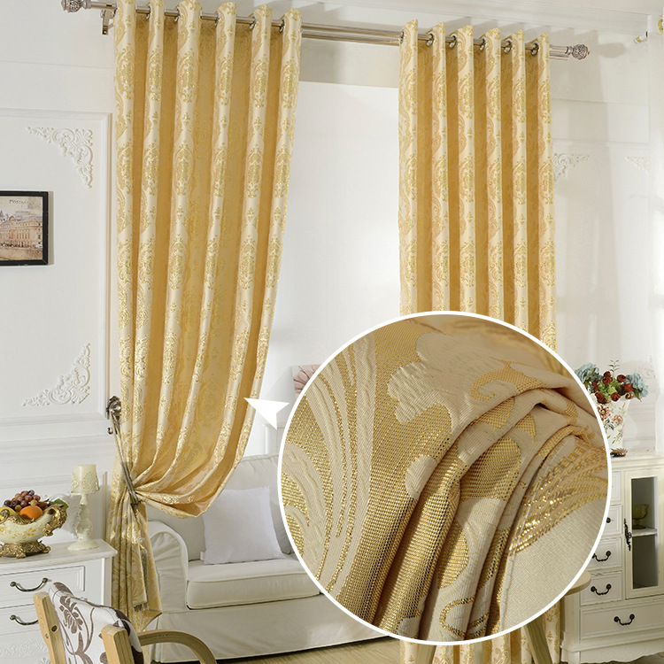 FYFUYOUFY Upmarket European Golden Royal Luxury Curtains for Bedroom Living Room jacquard Window Curtains