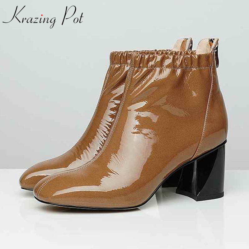 krazing pot genuine leather Pleated decoration high street fashion Chelsea boots women European Winter plus size ankle boots L36 draped pleated plus size tunic top