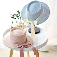 HT2260 New Lady Straw Hat Women Summer Wide Brim Sun Solid Ribbon Bow Flat Top Boater Panama Female Plain Beach