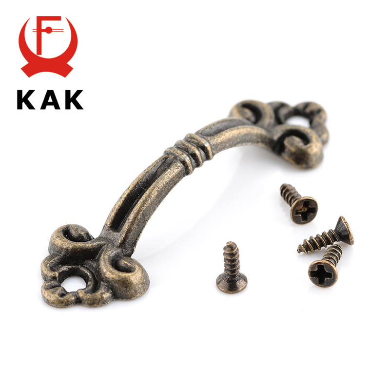 KAK 10pcs Handles Knobs Pendants Flowers For Drawer Wooden Jewelry Box Furniture Hardware Bronze Tone Handle Cabinet Pulls