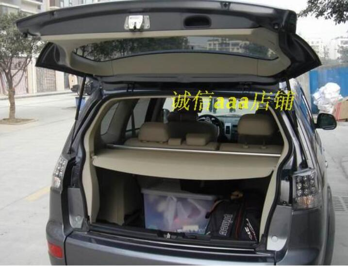 Car Rear Trunk Security Shield Shade Cargo Cover For Mitsubishi Outlander 2007 2008 2009 2010 2011 2012 (Black beige) for nissan x trail 2008 2009 2010 2011 2012 2013 retractable rear cargo cover trunk shade security cover black auto accesaries