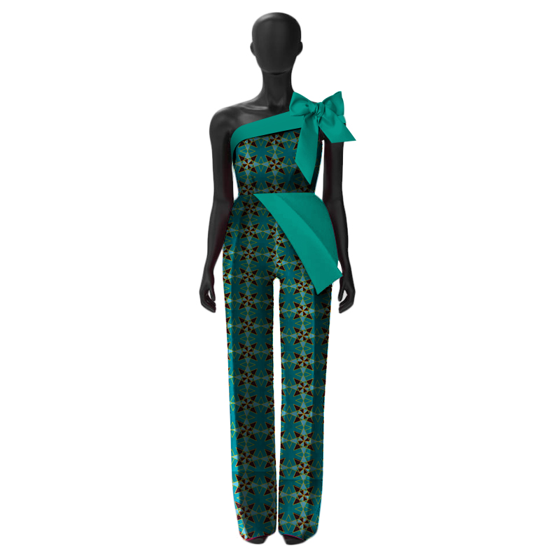 summer african women jumpersuit with print sexy overalls women jumpsuit elegant sleeveless dashiki pant plus size 5xl WY3054
