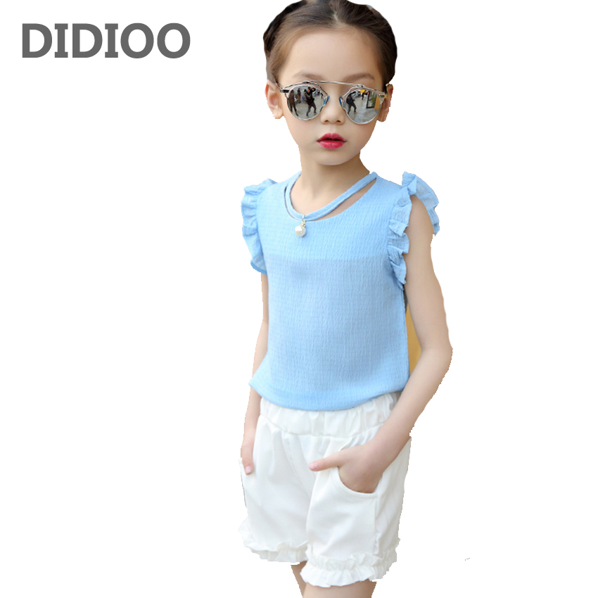 Baby Clothes Sets Summer Girls Sleeveless Tops & Shorts Suits for Children Solid Clothing Sets Girls Chiffon Shirts & Pants Sets