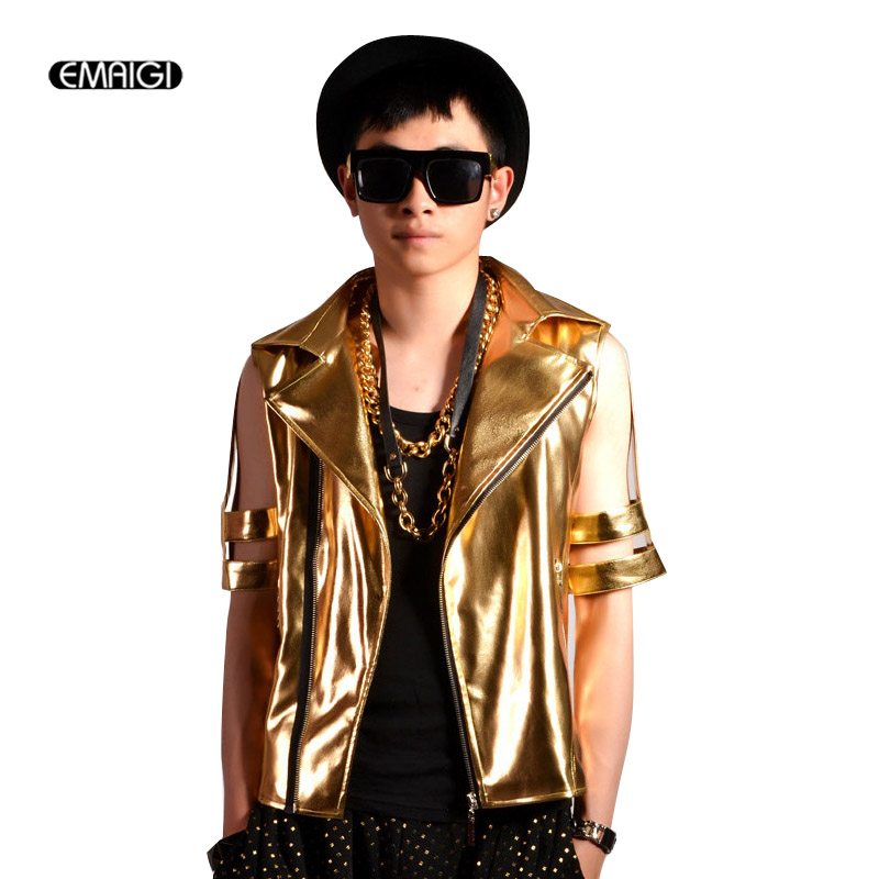 customized make stage costumes gold hollow half sleeve male leather coat men nightclubs hip hop punk fashion show jacket