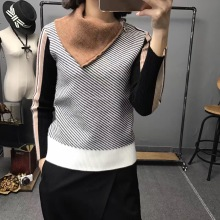 2017 New New Arrival Fashion Microfiber Full Pullover Men Side Downneck Female Oblique Stripe Mosaic Sleeve Head Wool Sweater