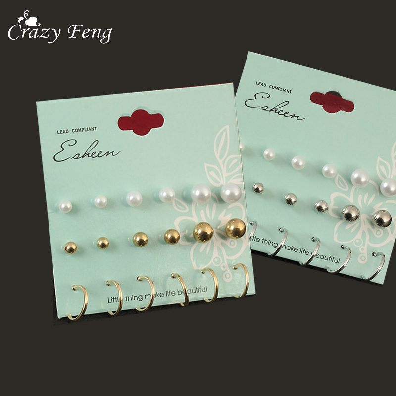 Crazy Feng Charms 9 Pairs Simulated Pearl Earrings Set Jewelry For Women Fashion Gold Color Stud Earring Small Clip Cuff Earring gold earrings for women