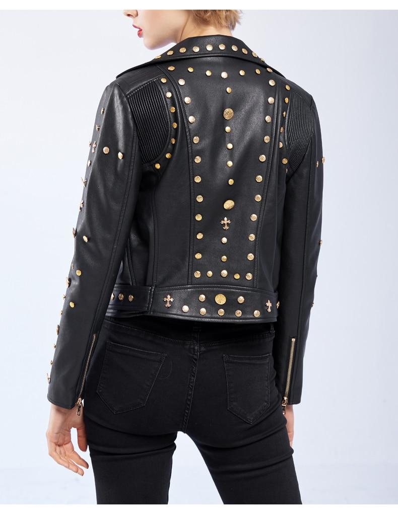 Black Pu Rivet Perles Rue De Cuir Base 2017 Marque Wj1018 Nouveau Bonne Veste En Mode Automne Qualité Dames Printemps qa8Ux1