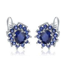Женские серьги с голубым сапфиром винтажные гвоздики из стерлингового