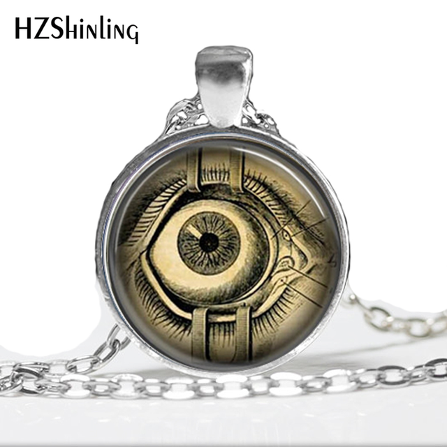 Glass Dome Necklace Steampunk Jewelry Human Anatomy Eyeball Necklace Evil Eye Science Medical Art Pendant  Necklace HZ1