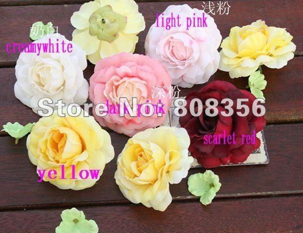 30p Artificial Simulation Rose Camellia Peony Wedding Bridal Flower 7cm Diy Brooch Baby Headwear Ring 6 Colors