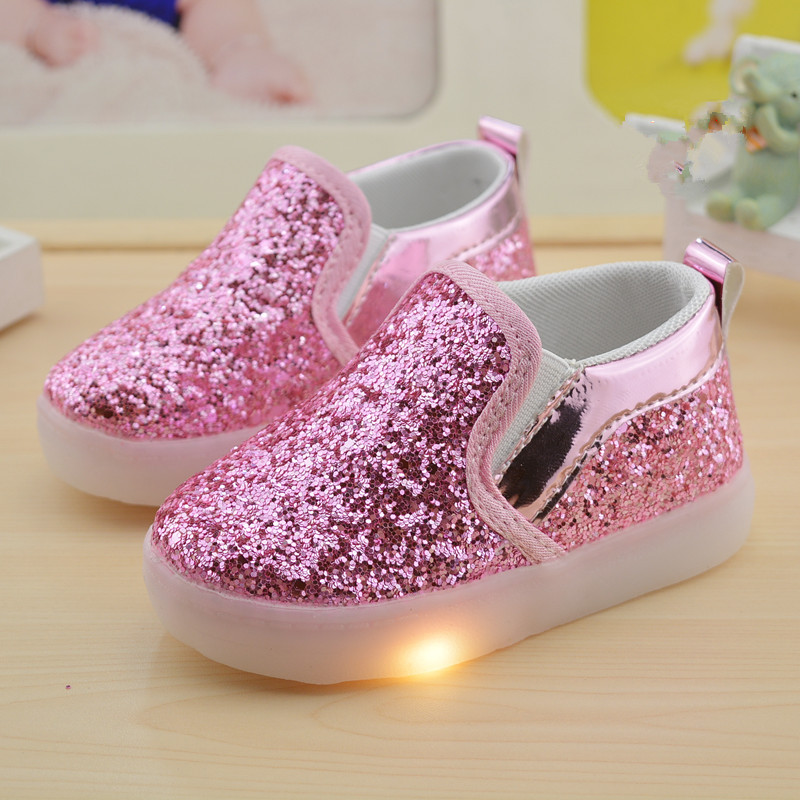 2017 autumn child shoes light kids baby fashion Peas shoes with light boys/girls flashing sneaker causal sneaker children 21-30
