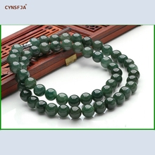 Certified Natural A Grade Burmese Jadeite Myanmar Emerald Jade Lucky Beads Necklace Ice Green High Quality Wonderful Gifts цена и фото