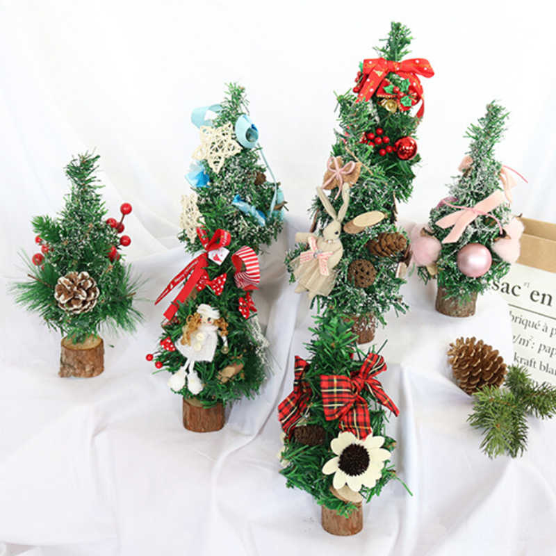 25cm Mini Christmas Tree for Home Table Decoration Ornaments Merry Christmas Decoror Home Party Mini Small Pine New Year Gift