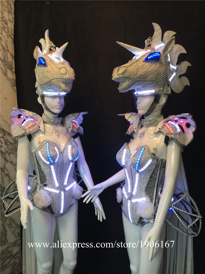 Led luminous horse costume flashing ballroom stage clothes02