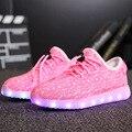 Meninos e meninas crianças shoes com luz led casual shoes for kids 2016 de boa qualidade led light up usb 7 cores crianças shoes 25-37