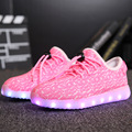Niños boys and girls shoes con luz led casual shoes for kids 2016 buena calidad de luz led up usb 7 colores kids shoes 25-37