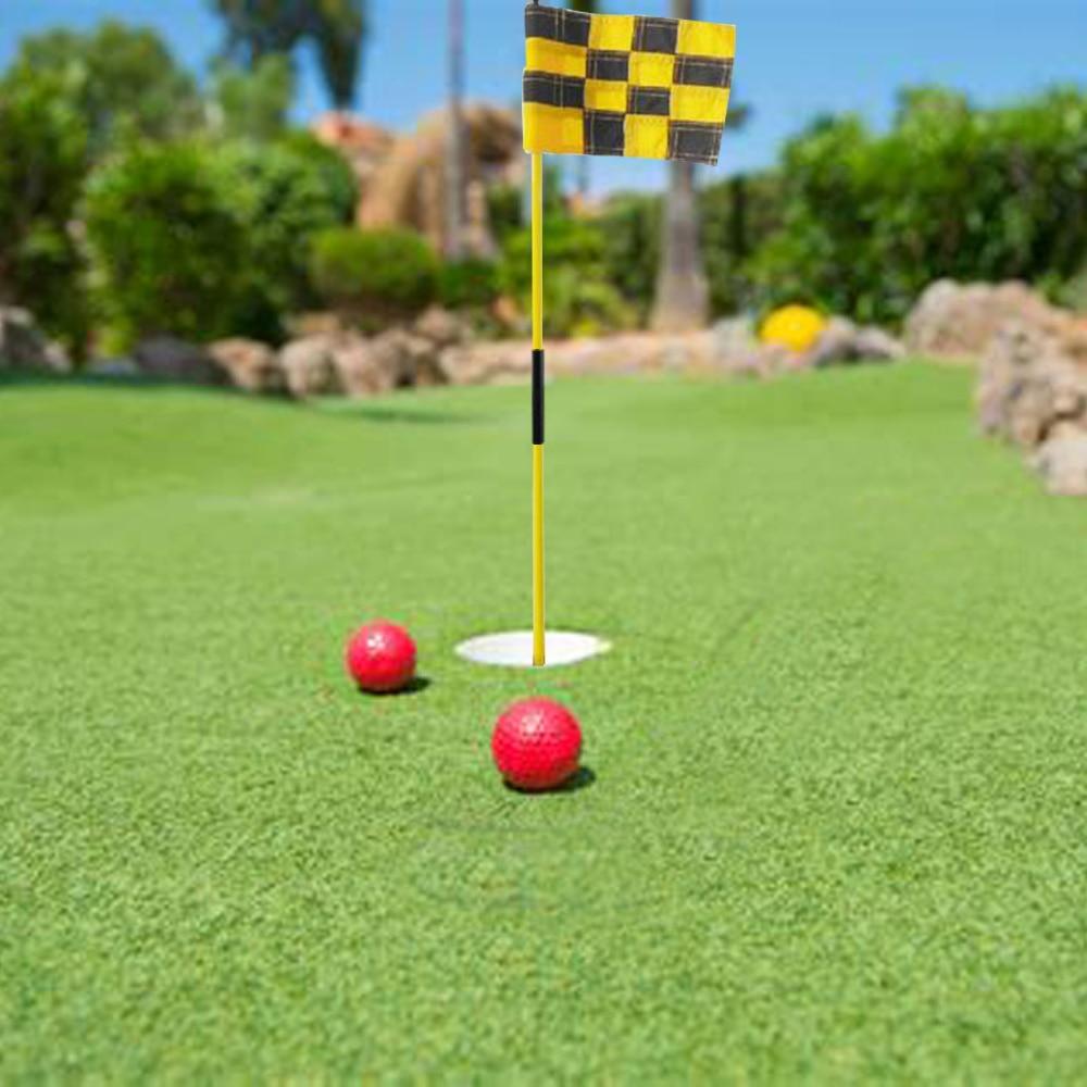 CRESTGOLF 1set Per Pack Backyard Practice Golf Hole Pole Cup Flag Stick 3 Section Golf Putting