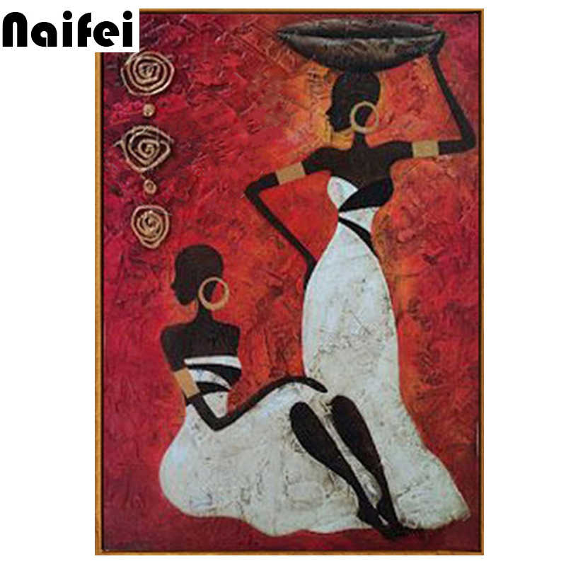 5D Diamond Painting Cross Stitch Diy Diamond Embroidery Abstract African Red Africa Women Square Diamond Mosaic Needlework