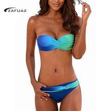 ZAFUAZ 2019 Two Piece Bandeau Twist Front Push Up Bikini Set Gradient Swimsuit Underwire Bathing Suit Plus Size Beach Wear XL
