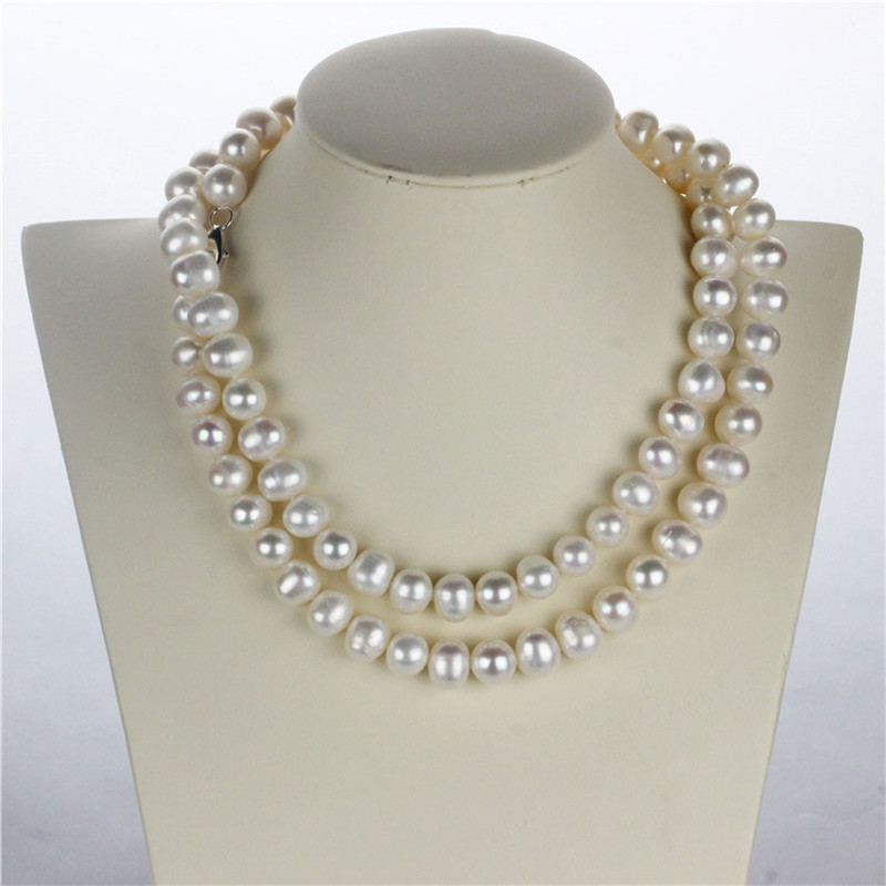 SNH 100% real genuine cultured 11-12mm potato natural freshwater pearl necklace jewelry for women 925 sterling silver clasp snh 36inches baroque 11 12mm aa real freshwater natural pearl necklace women fine necklace jewelry pearl 925 sterling silver