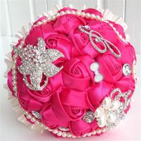 Hot fushia pearl artificial wedding bouquets crystal bridal wedding bouquets for wedding decoration