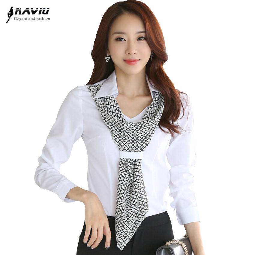 High quality new fashion women shirt slim formal scarf ...
