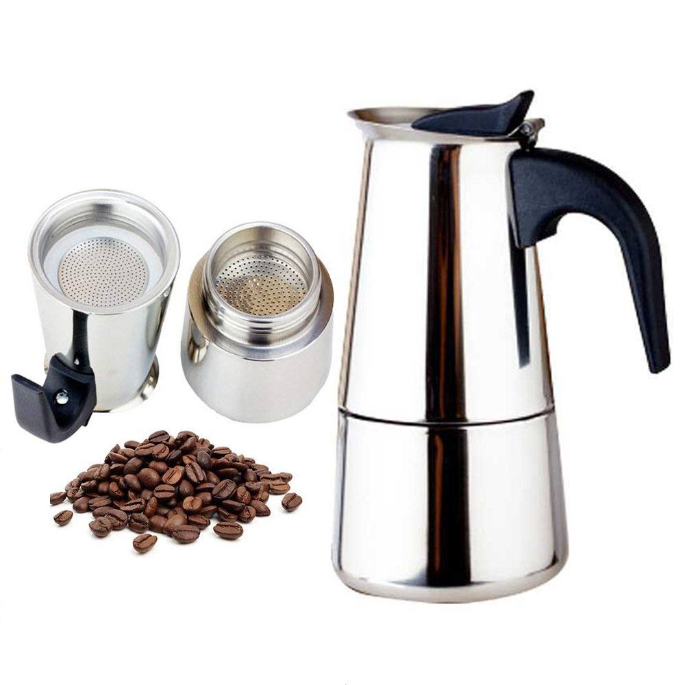 2019 fashion Design Large Capacity Stainless steel 304 Moka Pot Coffee Maker Stovetop Espresso Maker Mixpresso