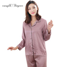 335654f01b Tinyear Night Women Plus size M-4XL Casual Breathable Satin pajama sets Long  sleeve