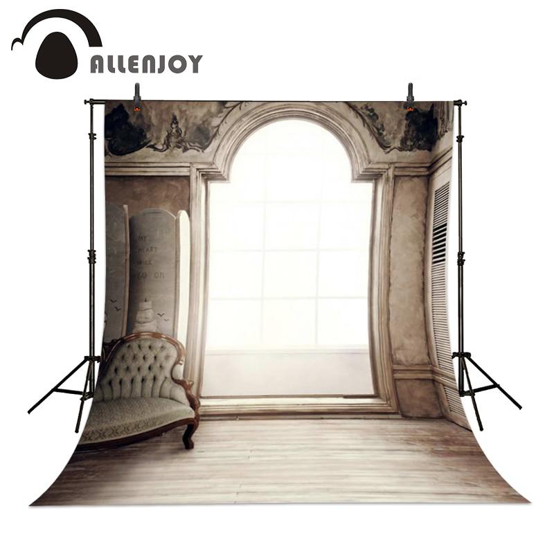 Allenjoy 6.5* 10ft Valentine's Day Photo Studio Background window retro sofa indoor Photography Wedding Backdrop Custom size  недорого